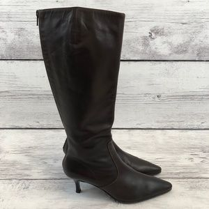 J Crew Women 7.5 Tall Leather Boots Kitten Heel